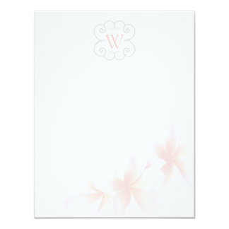 Monogrammed Floral Tropical Theme Blank Note Cards