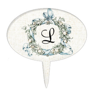 Monogrammed Floral Wreath Cake Toppers