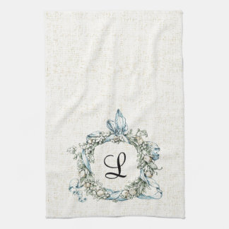 Monogrammed Floral Wreath Hand Towels