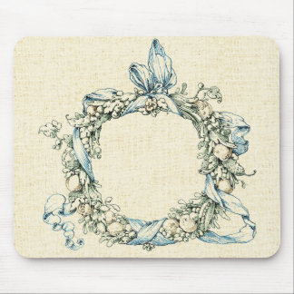 Monogrammed Floral Wreath Mouse Pad