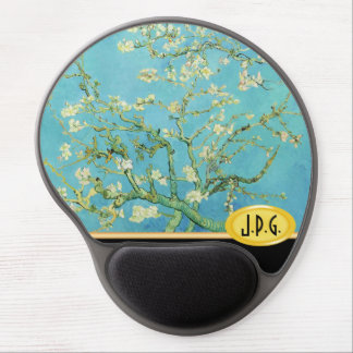 Monogrammed Flower Almond Blossoms Green Cream Gel Mouse Pad