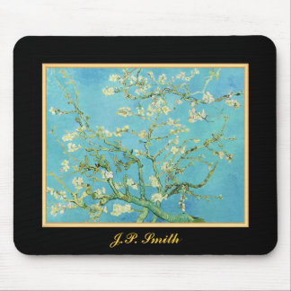 Monogrammed Flower Almond Blossoms Green Cream Mouse Pad