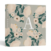 Monogrammed Flower Binder - Green Mint White Cream
