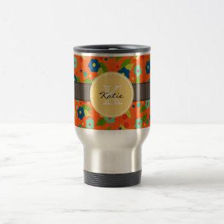 Monogrammed Flower Travel Mug