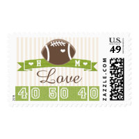 MONOGRAMMED Football LOVE WEDDING POSTAGE STAMP