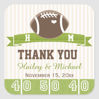 MONOGRAMMED FOOTBALL THANK YOU WEDDING FAVOR SQUARE STICKERS