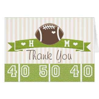 MONOGRAMMED FOOTBALL WEDDING THANK YOU CARD