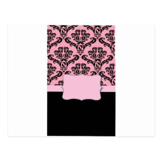 Monogrammed French Damask Romantic Pattern Postcard