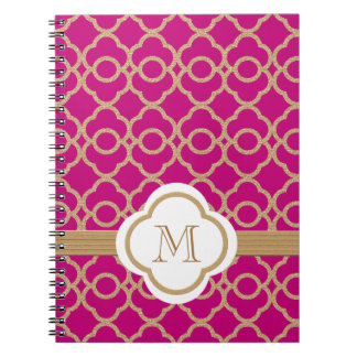 Monogrammed Fuchsia and Gold Moroccan Notebook