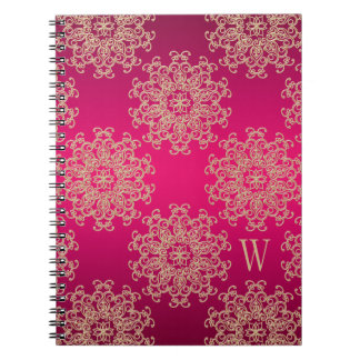 Monogrammed Fuchsia and Gold Notebook Journal