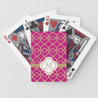 Monogrammed Fuchsia Gold Moroccan Bicycle Card Decks