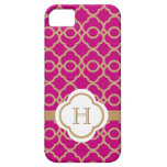 Monogrammed Fuchsia Pink Gold Moroccan iPhone 5 Cases
