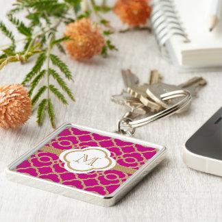 Monogrammed Fuchsia Pink Gold Moroccan Keychain