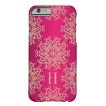 Monogrammed Fucshia and Gold Exotic Medallion Barely There iPhone 6 Case