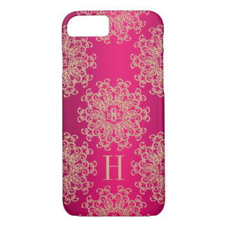 Monogrammed Fucshia and Gold Exotic Medallion iPhone 8/7 Case