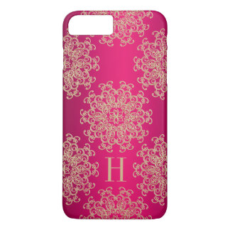 Monogrammed Fucshia and Gold Exotic Medallion iPhone 8 Plus/7 Plus Case