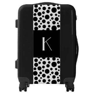 Monogrammed funky polka dots in black&white luggage
