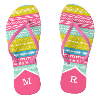 Monogrammed funky sewing stitches pink strap flip flops