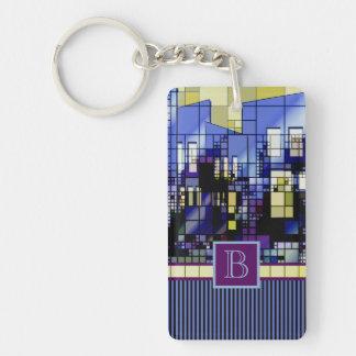 Monogrammed Geometric Abstract City Urban Building Rectangle Acrylic Key Chain