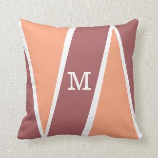 Monogrammed Geometric Pattern Orange Marsala Pillow