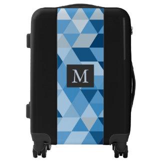 Monogrammed Geometric Shapes Pattern Luggage