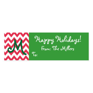 Monogrammed Gift Tag with Chevron Business Card Templates