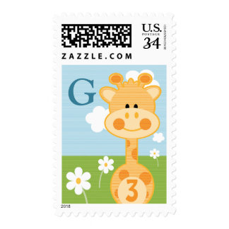 MONOGRAMMED GIRAFFE ANY AGE BIRTHDAY POSTAGE STAMPS