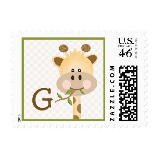 Monogrammed Giraffe Postage Stamp