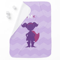 Monogrammed Girl Superhero Silhouette Purple Pink Receiving Blanket