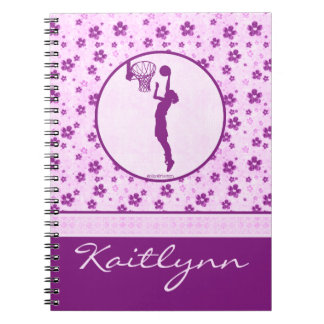 Monogrammed Girl's Basketball Purple Heart Floral Notebook