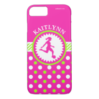 Monogrammed Girls Soccer Pink - Green Polka-Dots iPhone 7 Case