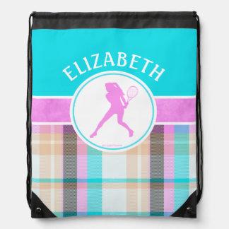 Monogrammed Girl's Tennis Summer Tartan Drawstring Bag