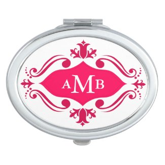 Monogrammed Girly Pink Victorian Flourish Compact Mirrors
