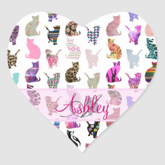Monogrammed Girly Whimsical Cats floral stripes Heart Sticker