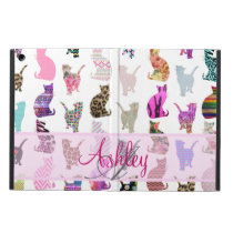 Monogrammed Girly Whimsical Cats floral stripes iPad Air Cover