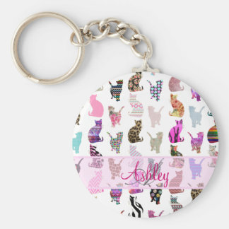 Monogrammed Girly Whimsical Cats floral stripes Keychain