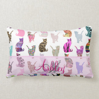 Monogrammed Girly Whimsical Cats floral stripes Lumbar Pillow