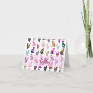 Monogrammed Girly Whimsical Cats floral stripes Note Card