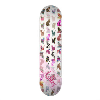 Monogrammed Girly Whimsical Cats floral stripes Skateboard Deck