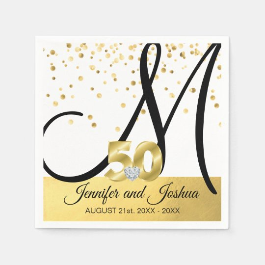 50th Wedding Anniversary Gift Etiquette: Monogrammed Gold 50th Wedding Anniversary Napkin