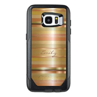 Monogrammed Gold And Copper Stripes Pattern
