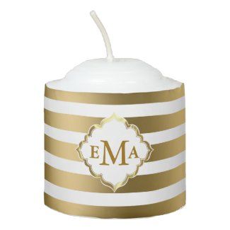 Monogrammed Gold And White Stripes Pattern