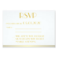 Monogrammed Gold Black Great Gatsby Wedding RSVP Card