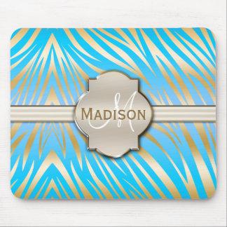 Monogrammed Gold Blue Zebra Print Pattern Mouse Pad