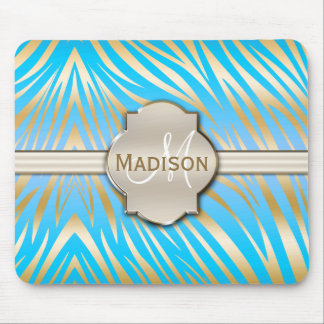 Monogrammed Gold Blue Zebra Print Pattern Mouse Pad