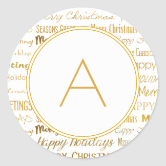 Monogrammed Gold Christmas Typography Trendy Classic Round Sticker