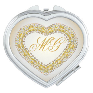 Monogrammed Gold & Copper Heart 3 - Compact Mirror