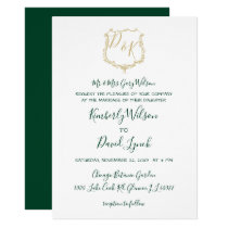 Monogrammed Gold Crest and Forest Green Wedding Card