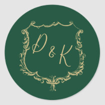 Monogrammed Gold Crest and Forest Green Wedding Classic Round Sticker