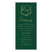 Monogrammed Gold Crest and Green Wedding programs